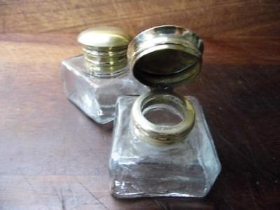 Beautiful Pair Of Antique Style Clear Glass Inkwells Bottles Brass Flip Top Lids