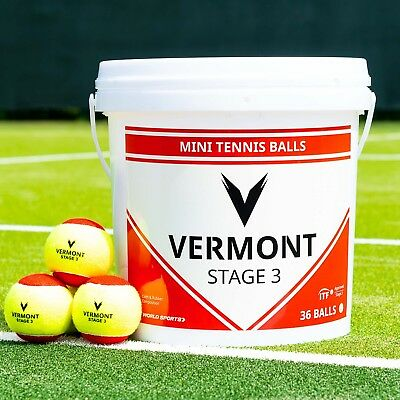 Vermont Mini Red Tennis Balls | Stage 3 | 36 Ball Capacity Bucket | ITF Approved