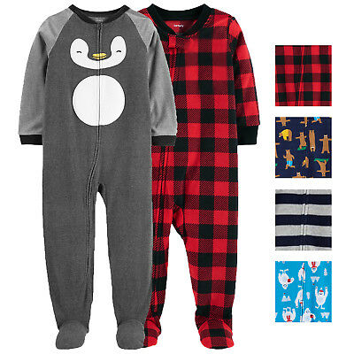 Carters Boys 2 Pack Footed Fleece Pajamas-New Without Tags!