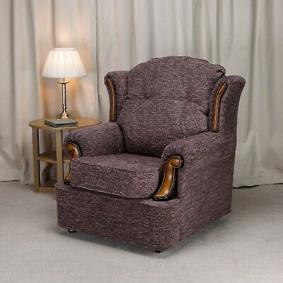 Verona Chair Fireside Chair Cromwell Plum Fabric Seat Easy Armchair Queen Anne