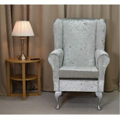 High Wing Back Fireside ChairBling Silver Fabric Seat Easy Armchair Queen Anne