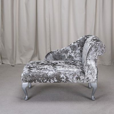 "41"" Small Chaise Longue Lounge Sofa Seat Chair Lustro Flint Fabric Queen Anne UK"