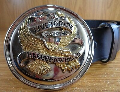 Harley Davidson LIVE TO RIDE RIDE TO LIVE BELT & BUCKLE Size 34
