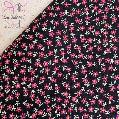 Black Ditsy Floral Fabric Rose and Hubble, Flower Material by Metre, Half Metre