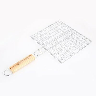 Barbecue Meshes Camping Grill Rack BBQ Folder Grill W/ Wooden Handle NV