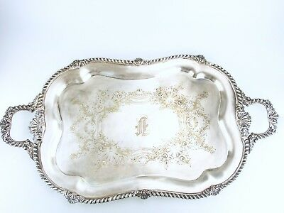 Antique Silver Plate Serving Tray  XL Barbour Silver Co Circa 1890s