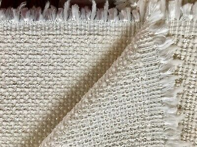 designer fabric yardage IVORY- LT. CREAM WEAVE tweed reversible HIGH END VINTAGE