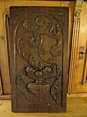 Superb Antique French  Carved  Wooden Oak Panel ~ Flower Urn & Acanthus Scrolls