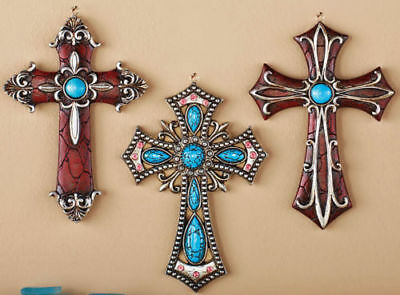 3Pc Western Style Wall Cross Set W/ Southwest Faux Turquoise & Silver Accents 6""