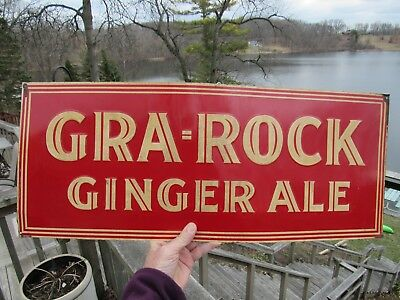 ORIGINAL 1920's GRA-ROCK GINGER ALE EMBOSSED TIN LITHOGRAPH SIGN NOT VERNOR'S