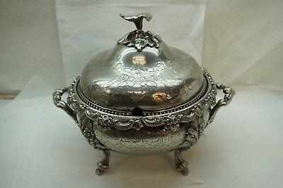 ANTIQUE SILVER PLATE SERVING VEG TUREEN AESTHETIC NOUVEAU FLOWER FORM FINIAL d