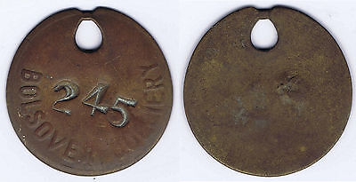 Brass Miners Pit Check Token Tool Lamp Tally   N.C.B. BOLSOVER Colliery - 245