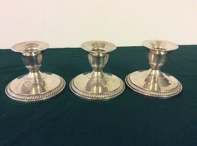 3 Vintage Fisher Sterling Silver Weighted  Candle Holder Sticks 850