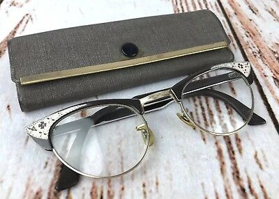 True Vintage Shuron Womens Prescription Gold Filled Cat Eyeglasses w/ Case USA