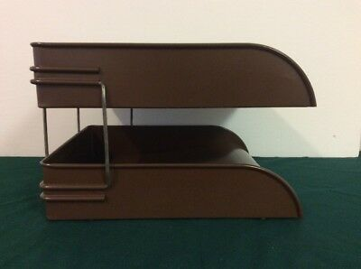 Vintage GLOBE WERNICKE Metal Desk Organizer 2 Tier In Out Paper Letter Tray
