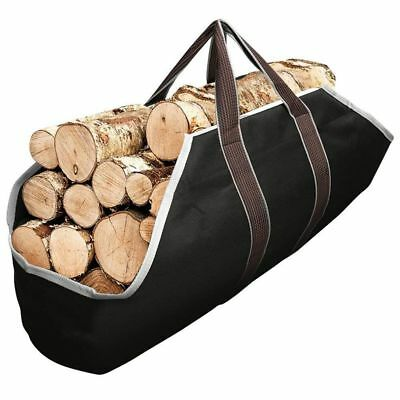 2X(Canvas Tote Bag Carrier Indoor Fireplace Firewood Totes Holders Round Wood 9)