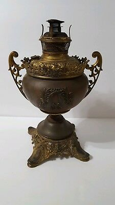 Antique B&H Bradley Hubbard Oil Lamp ornate brass cast iron 25%off