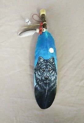 Hand Painted Feather ,arts & Crafts ,southwest Art ,santa Fe Style , Wolf ,00
