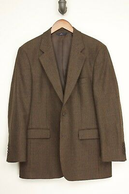 Brooks Brothers Mens Sport Coat 40R Brown Check Wool Tweed Jacket 346