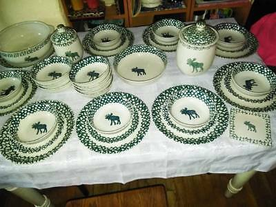 TIENSHAN Folk Craft MOOSE COUNTRY Green Sponge Ware, 41 PCS, LOCAL PICK-UP ONLY