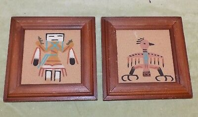 Authentic Navajo Native American Sun Eagle + Thunderbird Handmade Sand Paintings
