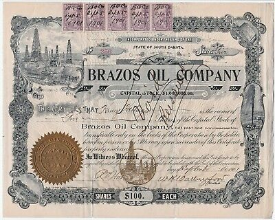 RARE - Stock Certificate Signed - Brazos Oil Company South Dakota 1901 w stamps