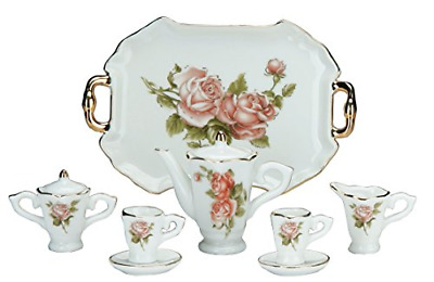 Miniature Collectible ROSE Porcelain Tea Set: Teapot, Sugar Bowl, Creamer, 2