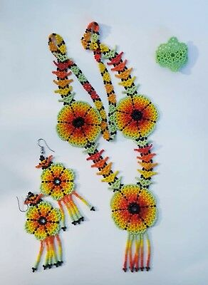 UNIQUE HANDMADE HUICHOL BEADED NECKlACEAND EARRING AND RING SET.