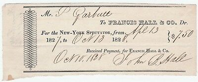 RARE Receipt Newspaper Dues New York Spectator Signed John B Hall 1828 NY City