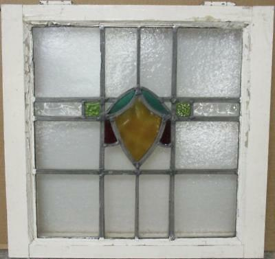 "OLD ENGLISH LEADED STAINED GLASS WINDOW Colorful Abstract Design 21"" x 20.25"""