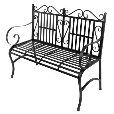 "44"" Outdoor Patio Park Garden Bench Porch Chair Steel Frame Cast Iron Backrest"