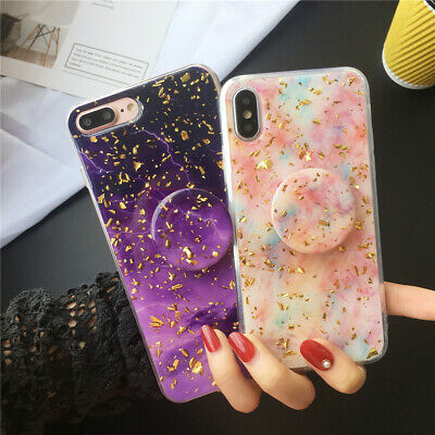 iPhone 7 8 Plus X XR XS Max 6 Marble Case With Pop Up Holder Stand Quality TPU