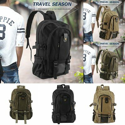 Unisex Backpack Vintage Canvas Rucksack Preppy School Shoulder Travel Satchel VB