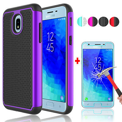 For Samsung Galaxy J3 V 3rd Gen 2018 Phone Case+Tempered Glass Screen Protector