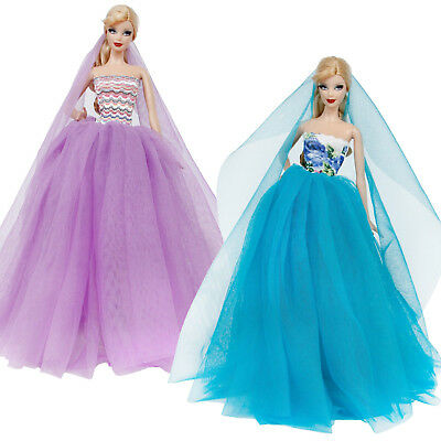 2 Sets Wedding Dress Party Gown Outfits Accessories Clothes For Barbie Doll Gift