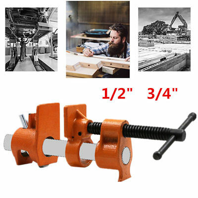 "1/2"" 3/4"" Cast Iron Wood Gluing Pipe Clamp Clip Set Woodworking Carpenter Tool"