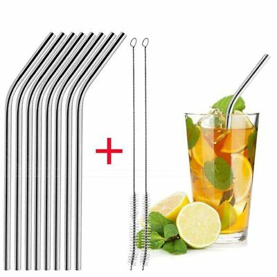 3X(8pcs Long Stainless Steel Drinking Straws with 2pcs Brushes Fit for 20 O G4E7