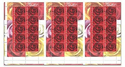 Australia 2006 Roses Cancelled to Order CTO Gummed Stamps Uncut of 3 Sheetlets