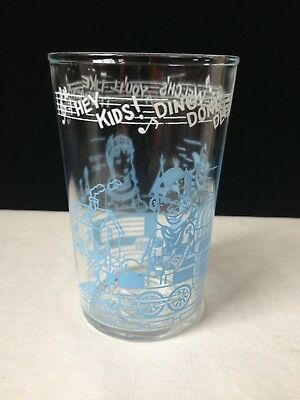 Vintage Welches Howdy Doody Drinking Glass Blue 1953