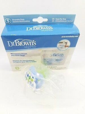 Dr.Brown's Microwave Steam Sterilizer Bag Bottle Feeding Baby infant 2 pacifiers