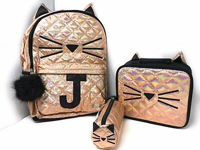 "Justice Cute Quilted Cat Initial ""J"" Backpack/Lunch Box/Supply bag set of 3 NWT!"