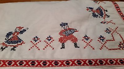 """Homemade Embroidered Tablecloth - 48"""" X 52.5"""""""