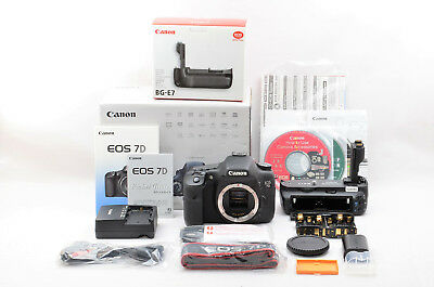 """MINT in Box "" Canon EOS 7D Digital SLR Camera + BG-E7 Grip from Japan #115"