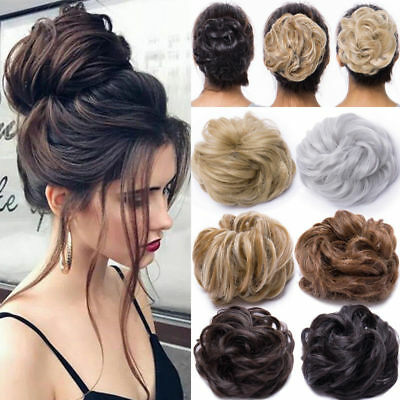 Real Natural Curly Messy Bun Hair Piece Scrunchie Hair Extensions as Human SL