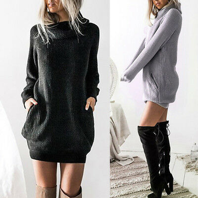 Women Sexy High Neck Long Sleeve Mini Casual Sweater Dress Plain Elegant Simple
