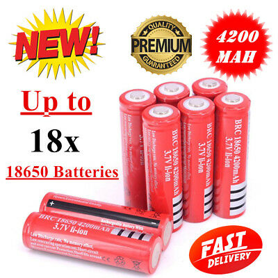2/ 6/ 10x Ultrafire BRC 18650 3.7V Rechargeable Lithium Battery Li-ion Batteries