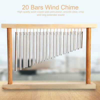 20-Tone Table Top Bar Chimes 20 Bars Single-row With Wood Metal Stand Stick