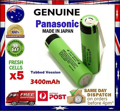 5x Panasonic NCR18650B 3400mAh Li-Ion TABBED Rechargeable Battery GENUINE