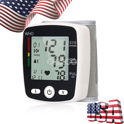 USPS Wrist Blood Pressure Monitor LCD Digital Display Screen with English Voice