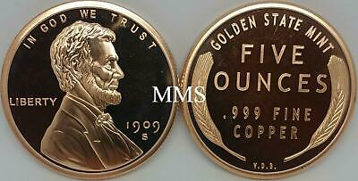 5 oz .999 Copper Round Lincoln Wheat Cent Golden Sate Mint 1909 S VDB Penny Cent